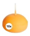 10 drijfkaarsen oranje