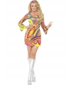 Carnavalskostuum 60s power flower dames kostuum