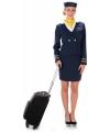 Blauw stewardessen verkleed mantelpakje