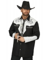 Zwart/witte cowboy overhemden voor heren