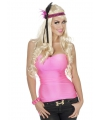 Dames stretch top neon roze