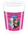 Feestelijke plastic bekers met plaatjes van Frozen 8 stuks