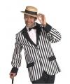 Carnavalskostuum Heren colbert zwart/wit gestreept