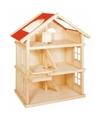Kinderen poppenhuis hout met 2 verdiepingen