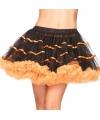 Luxueuze petticoat zwart met oranje