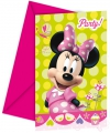 Verjaardagsuitnodiging Minnie Mouse 6 stuks