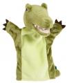 Groene handpop in de vorm van een krokodil 22 cm
