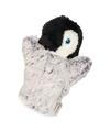 Grijs met witte handpop in de vorm van een pinguin 22 cm