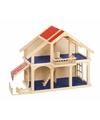 Kinderen poppenhuis hout met balkon en veranda