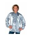 Carnavalskostuum Rouche overhemd voor heren zilver