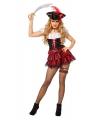 Carnavalskostuum Sexy piraten jurkje zwart met rood