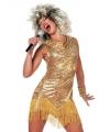Carnavalskostuum Sexy Tina jurkjes in het goud