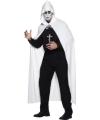 Carnavalskostuum Witte lange cape met capuchon