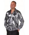 Metallic zilveren heren blouse