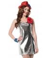 Carnavalskostuum Zilveren disco stretch jurkje
