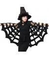 Zwarte spinnenweb cape voor volwassenen